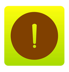 Exclamation mark sign brown icon at green vector