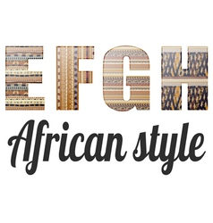 Four letters of the alphabet in the african style vector