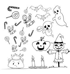 Halloween doodle set candy scarecrow pumpkins vector