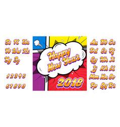 happy new year alphabet 3d comic text sound vector image