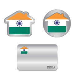 Home icon on the India flag vector image vector image
