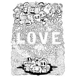 Love art on doodle vector