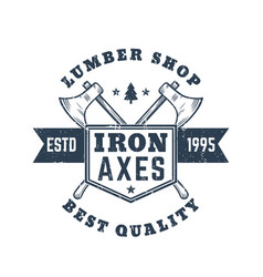 Lumber shop vintage logo emblem badge with axes vector