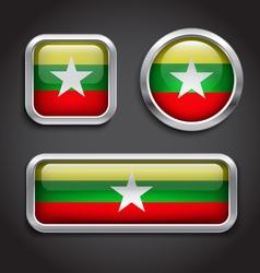 Myanmar flag glass buttons vector image