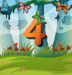 Number four with 4 butterflies in garden vector image vector image