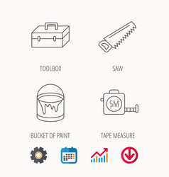 Saw bucket of paint and tape measure icons vector
