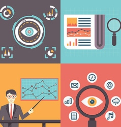 Set of analytics information and data handling vector image vector image