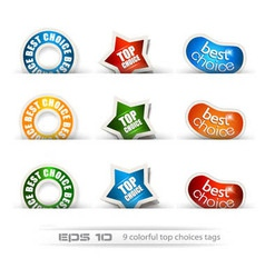 Set of nine best choices tags vector image vector image