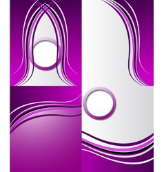 Set of purple backgrounds design frame line shadow vector image
