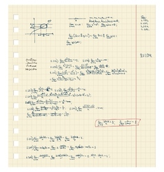 Sheet of notebook with maths lecture vector image vector image