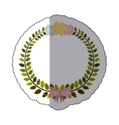 Sticker border of leaves with pink bow and flowers vector