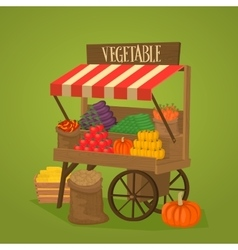Street shop on wheels with vegetables and fruits vector image vector image
