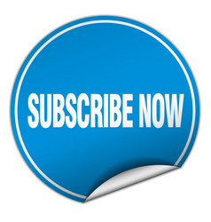Subscribe now round blue sticker isolated on white vector