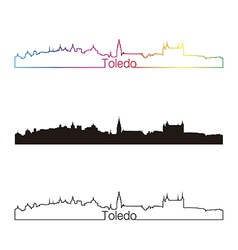 Toledo skyline linear style with rainbow vector image vector image
