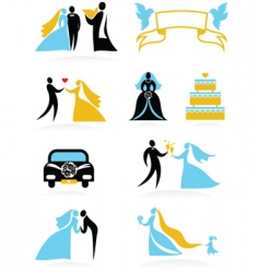 wedding people silhouettes set vector image vector image