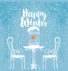 Winter banner with bird in the cage on the table vector