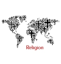 World map design of crucifix cross pattern vector