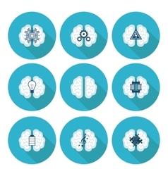 Collection of brain creation and idea icons vector