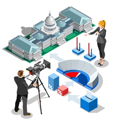Election infographic us capitol isometric building vector