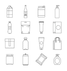 Packaging items icons set outline style vector image