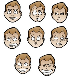 Cartoon emotional faces male vector
