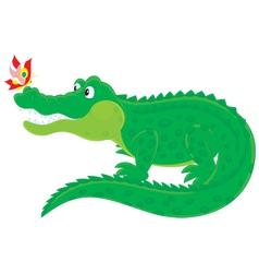 Crocodile and butterfly vector
