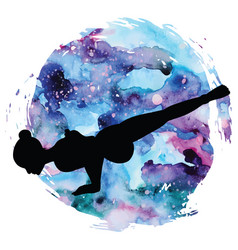Women silhouette flying pigeon yoga pose eka vector