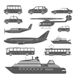 Detailed black and white transport icons set vector