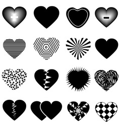 Hearts icons set vector
