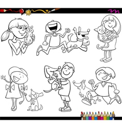 Kids and pets set coloring page vector
