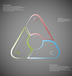 Triangle infographic consits of lines on dark vector