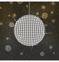 Shiny disco ball on abstract bokeh background vector