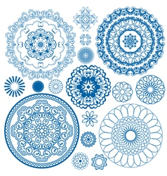 Set blue circle 380 vector