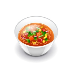 Minestrone soup isolated on white vector
