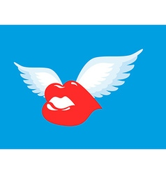 Kiss with wings flying winged lips romantic vector