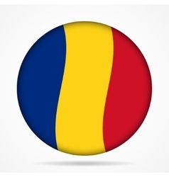 Button with waving flag of romania vector