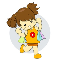 Shopaholic young girl is holding many shopping bag vector