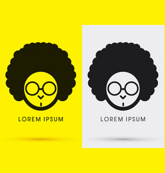 afro head with glasses vector image vector image
