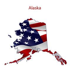 Alaska full of american flag vector