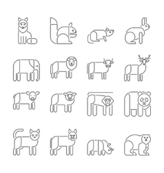 Animal icons thin line style flat design vector