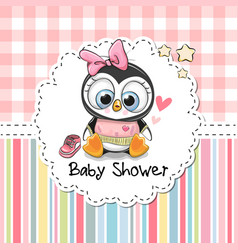 baby shower greeting card with cute penguin vector image vector image