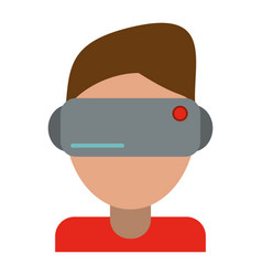 Boy wearing vr goggles vector