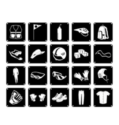 Collection of sport accessory icons vector