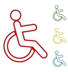 Disabled sign Set of line icons vector image