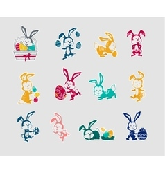Easter Rabbit Icon Set Design Flat vector image vector image