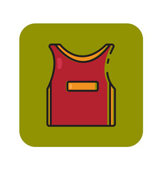 Flat color basketball jersey icon vector