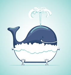 Funny whale in a bath vector