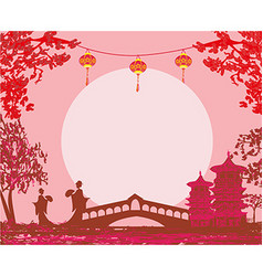 Geisha silhouette at sunset - frame vector