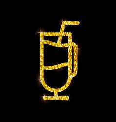 golden cocktail flat icon irish coffee vector image vector image