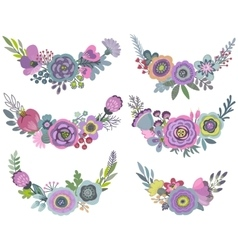 graphic set with beautiful floral wreaths vector image vector image